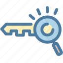 analytics, key, keyword, keyword engine, magnifier, research, searching icon