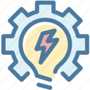 develop, gear, settings, light, idea, work on idea, bulb icon
