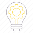 bulb, creative, development and startup, production, solution icon