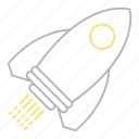 corporation, development and startup, rocket, startup icon