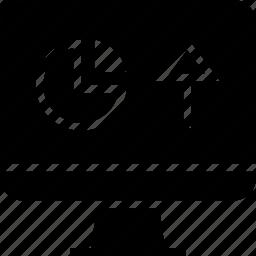 arrow, computer, graph icon