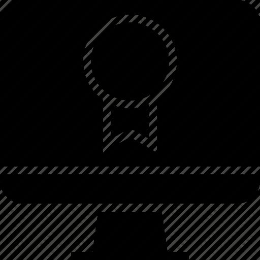 award, computer, ribbon icon
