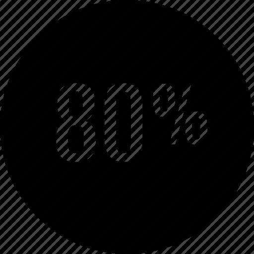 eighty, graphic, percent icon