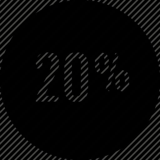 percent, percentage, twenty icon