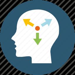 approach, assumptions, brain, decisions, diagnostics, ideas, insight, mental, modelling, reaction, reflex, solution, strategic, strategy, tactic, visualize icon