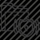 data protection, folder, shield, signaling icon