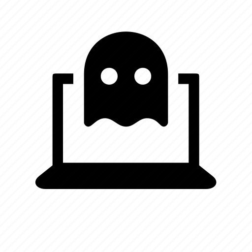 computer, device, ghost, laptop, spook, troll icon