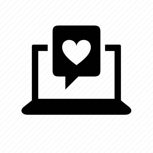 computer, dating, device, laptop, love, messaging icon
