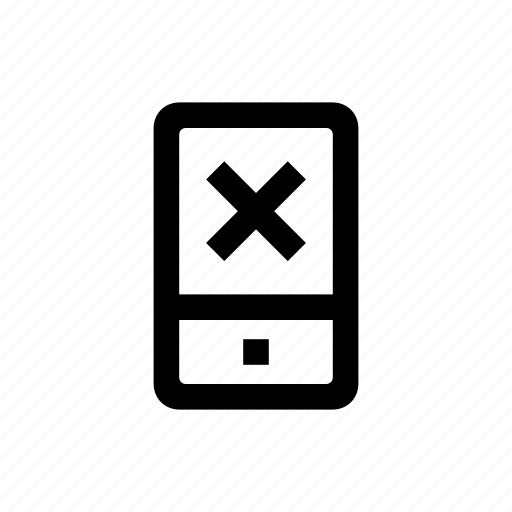 cross, device, mobile, phone icon
