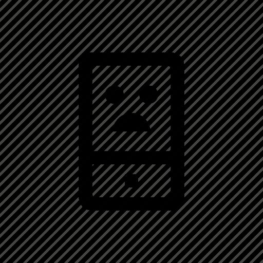 device, mobile, phone, sad icon