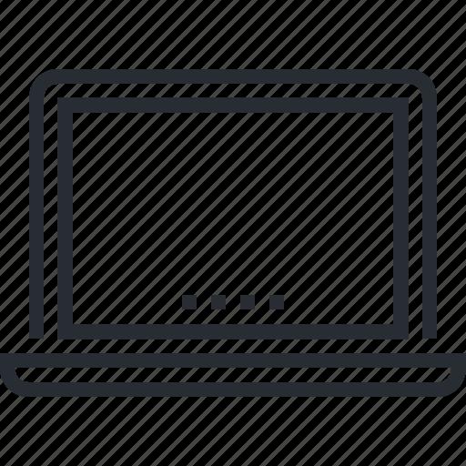 app, computer, devices, internet, laptop, pixel icon, thin line icon