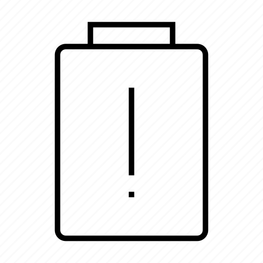 alert, battery, mobile, phone, warning icon