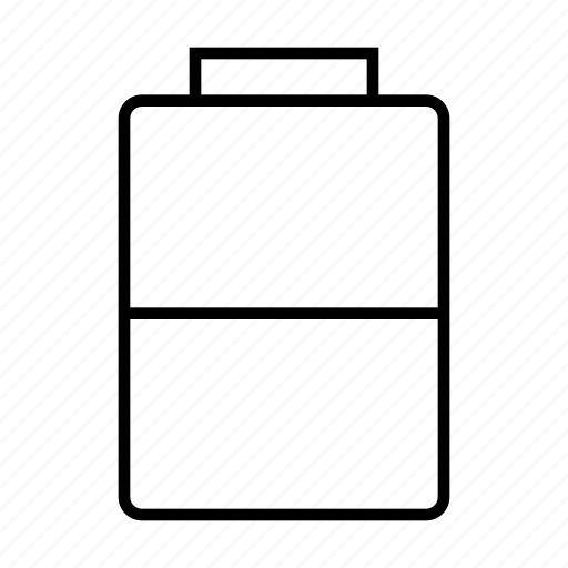 battery, half, mobile, phone icon