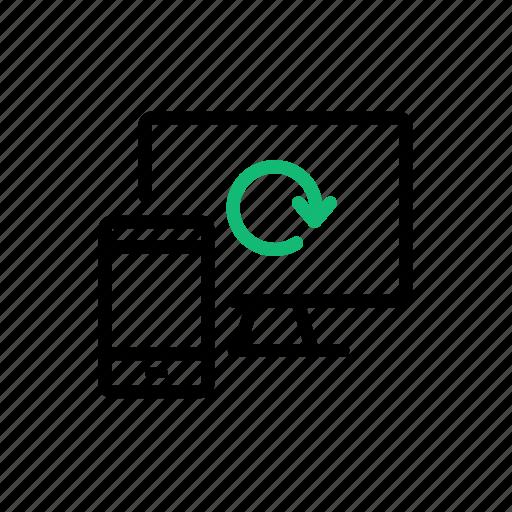 bluetooth, device, interlock, linkage, monitor, sync, synchronization icon