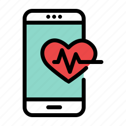 heart, mobile, monitor, phone, rhythm, smartphone icon
