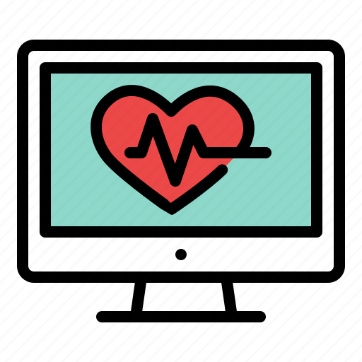 computer, display, heart, monitor, rhythm, screen icon