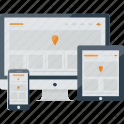 app, computer, devices, imac, ipad, mobile, responsive, responsiveness, tablet, website icon