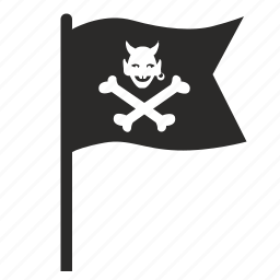 death, devil, flag, hell, pirate, pointer icon