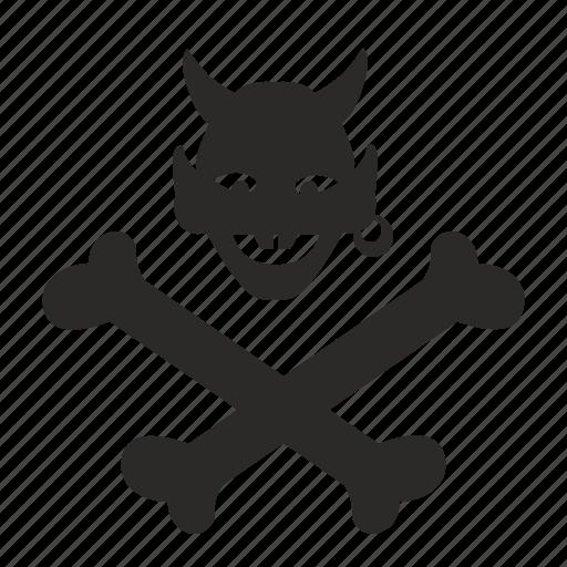 bones, death, devil, hell, pirate, smile icon