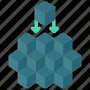 fine, grained, blocks, stack icon