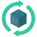product, cycle, arrows, block icon