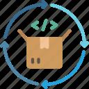 product, cycle, circular, arrows, box