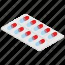 capsule, medical treatment, medication, medicine strip, remedy icon