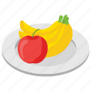 apple, banana, fruit collection, fruit plate, fruit tray, fruits icon