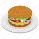 burger, chopped steak, fast food, hamburger, junk meal icon
