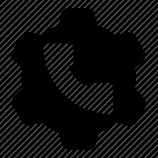 call, gear, settings icon