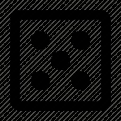 casino, dice, five, gamble, stochastic icon