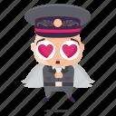 angel, dictator, emoji, emoticon, man, sticker icon