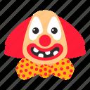 bow, circus, clown, hair, makeup, red nose