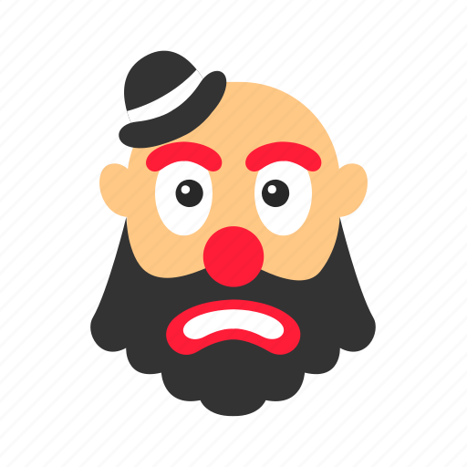 bow, circus, clown, hair, makeup, red nose icon