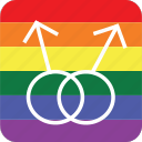 double, gay, gay men, lgbt, male, pride flag icon