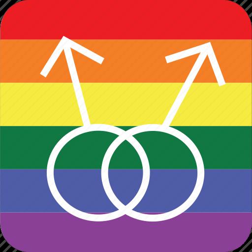 double, gay, gay men, lgbt, male, pride flag icon