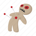 cartoon, doll, halloween, horror, magic, needle, voodoo icon