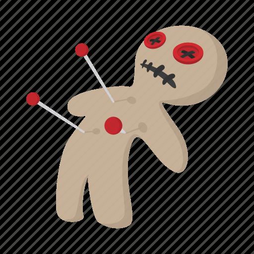 cartoon, doll, halloween, horror, magic, needle, voodoo icon