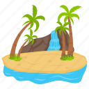 faroe island, hawaii island, island of waterfall, summer island, tropical island icon