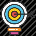 bulb target, creative and idea, creative light bulb, lightbulb target, target idea icon