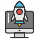 new website, rocket startup, web development, web startup, website launch icon