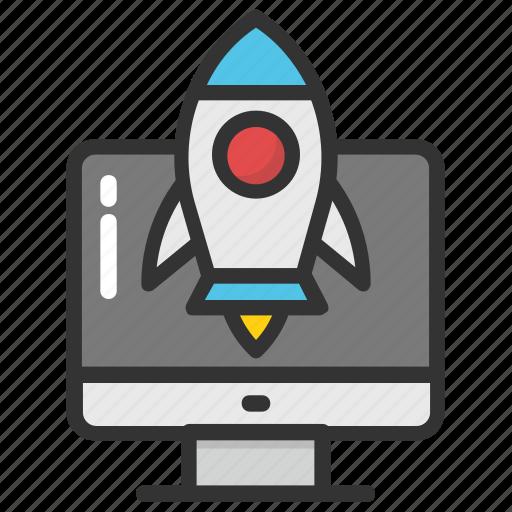 new website, rocket startup, web development, web startup, website launch icon