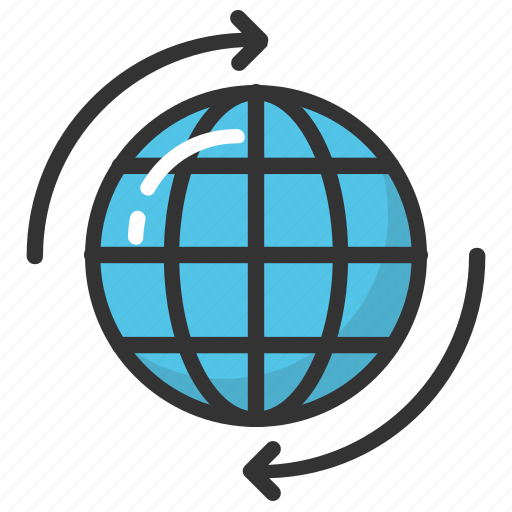 global ecology concept, globe and arrow, round the world, world, world tour icon