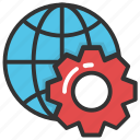 earth gear, global development, global options, globe inside gear, online strategies icon