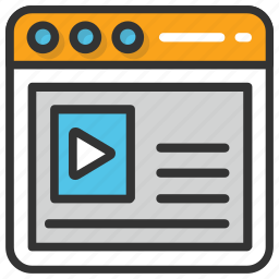 online study, online video tutorial, video lecture icon