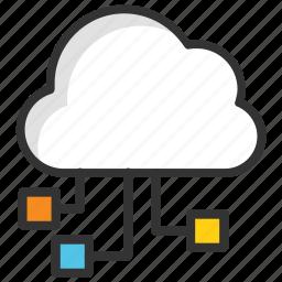 cloud computing, cloud hosting, cloud network, cloud technology, digital cloud icon