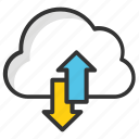 cloud data accessing, cloud data storing, cloud networking, cloud processing, cloud services icon