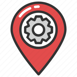 factory location, industrial area, industrial zone, location map with gear sign, navigation pin icon