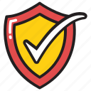 defended, protected, saved, secure, shield check icon