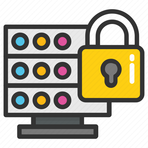 database lock, database security, server encryption, server lock, server security icon